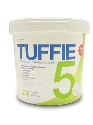 Tuffie 5 Cleaning and Disinfecting Wipes - Tub/225